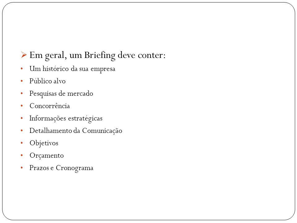 Em geral, um Briefing deve conter: Um histórico da sua empresa Público alvo Pesquisas de mercado Concorrência Informações estratégicas Detalhamento da
