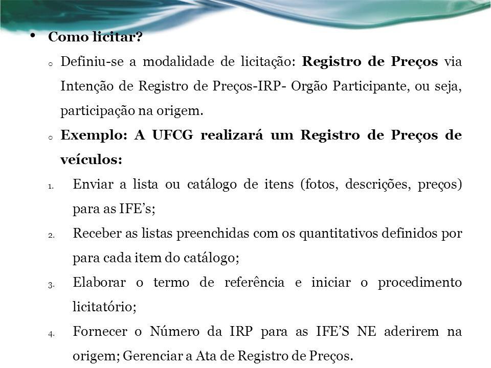 Como licitar? o Definiu-se a modalidade de licitação: Registro de Preços via Intenção de Registro de Preços-IRP- Orgão Participante, ou seja, particip