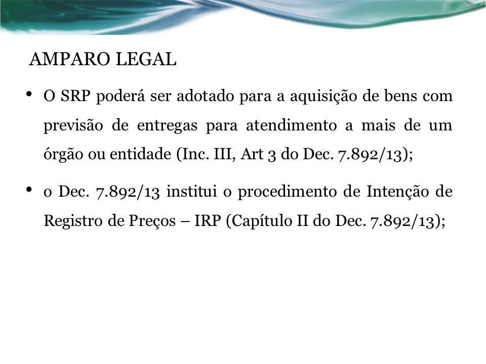 AMPARO LEGAL O SRP poderá ser adotado para a aquisição de bens com previsão de entregas para atendimento a mais de um órgão ou entidade (Inc. III, Art