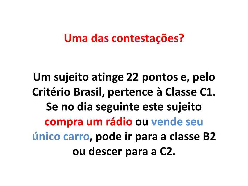Uma das contestações? Um sujeito atinge 22 pontos e, pelo Critério Brasil, pertence à Classe C1. Se no dia seguinte este sujeito compra um rádio ou ve