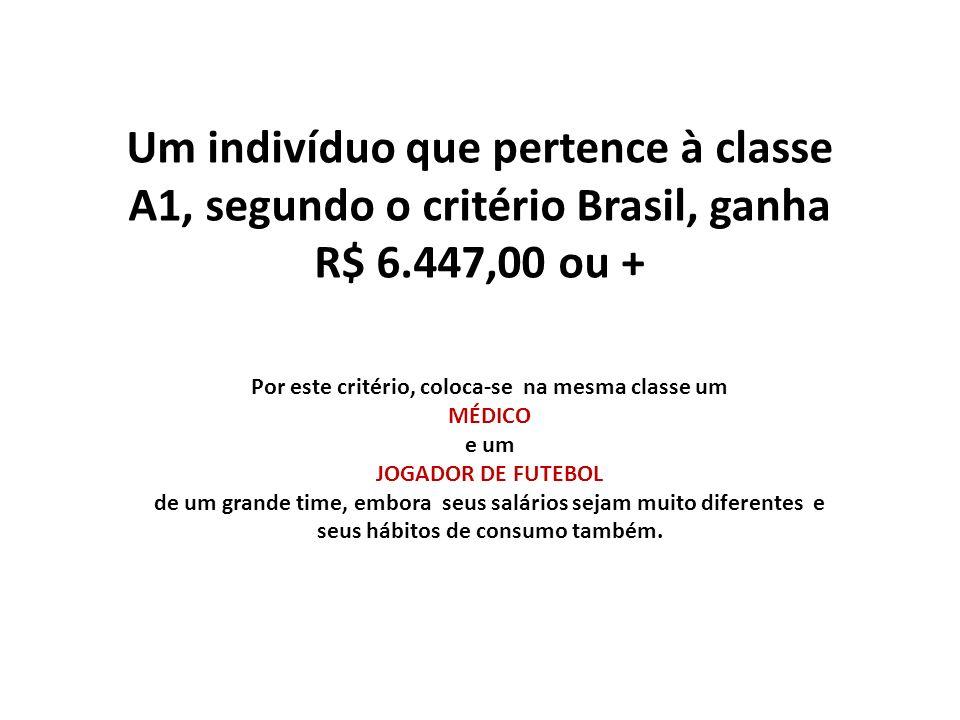 Um indivíduo que pertence à classe A1, segundo o critério Brasil, ganha R$ 6.447,00 ou + Por este critério, coloca-se na mesma classe um MÉDICO e um J