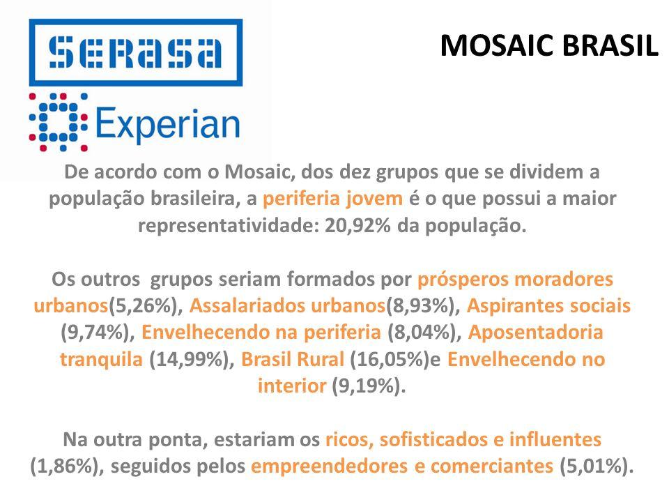 De acordo com o Mosaic, dos dez grupos que se dividem a população brasileira, a periferia jovem é o que possui a maior representatividade: 20,92% da p