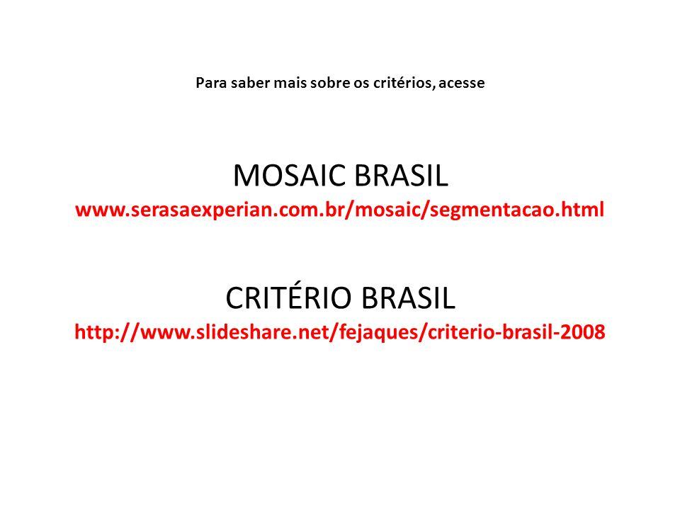 Para saber mais sobre os critérios, acesse MOSAIC BRASIL www.serasaexperian.com.br/mosaic/segmentacao.html CRITÉRIO BRASIL http://www.slideshare.net/f