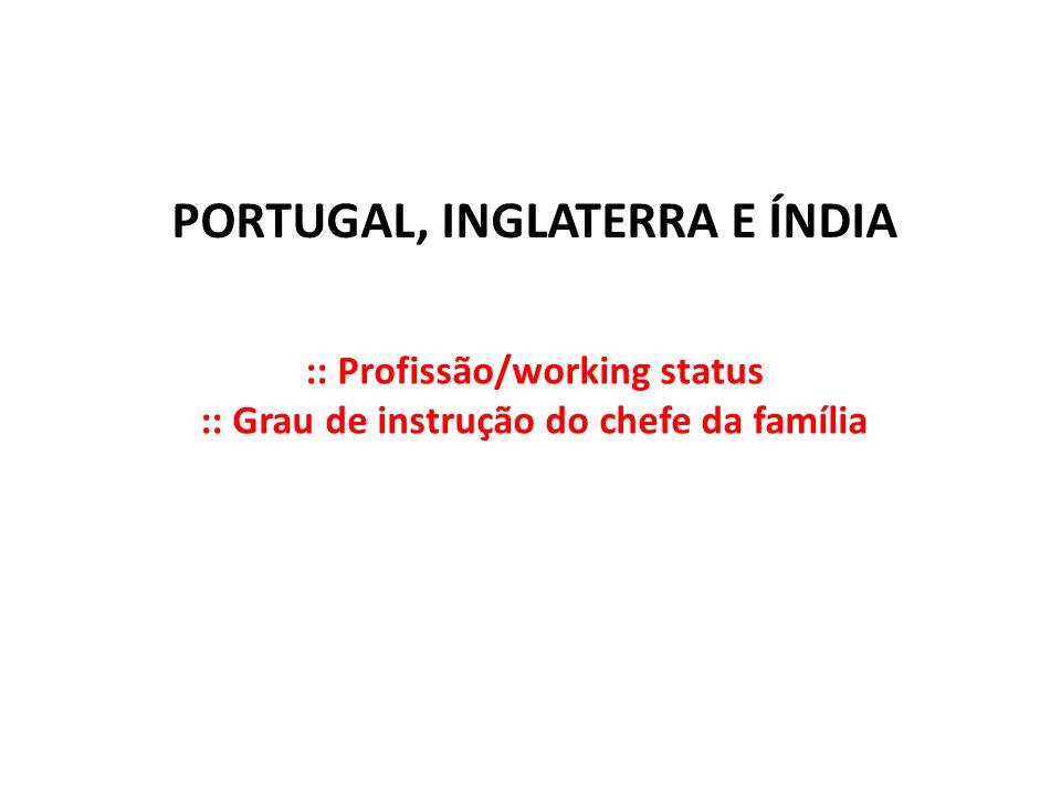 PORTUGAL, INGLATERRA E ÍNDIA :: Profissão/working status :: Grau de instrução do chefe da família