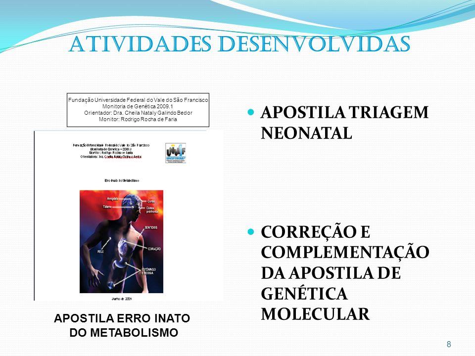 9 ATIVIDADES DESENVOLVIDAS AULA PRÁTICA NO LABORATÓRIO DE GENÉTICA