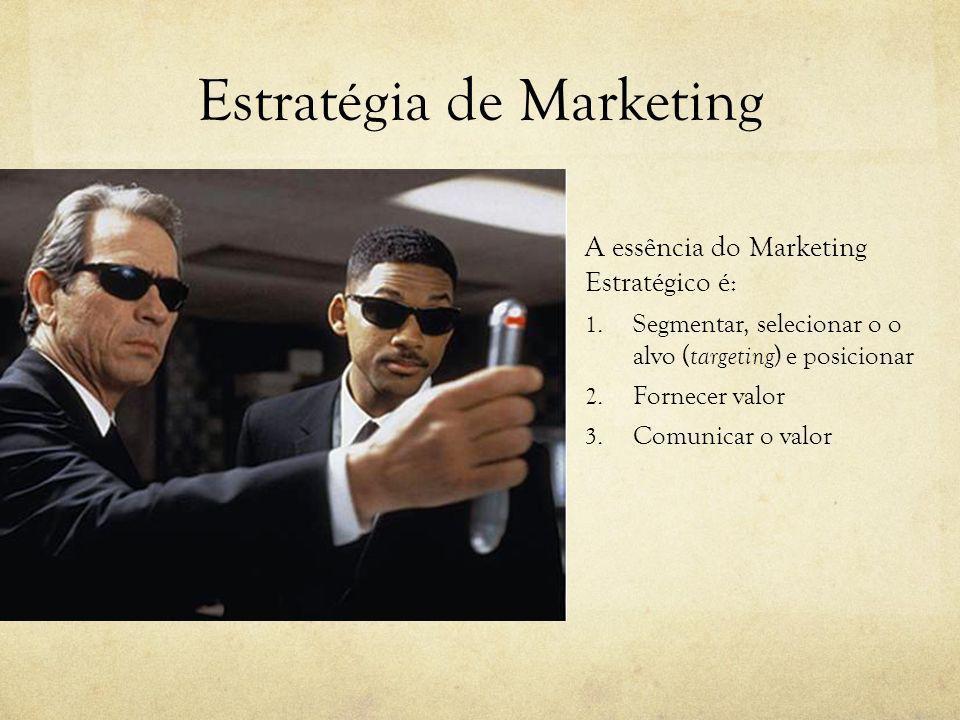 Estratégia de Marketing A essência do Marketing Estratégico é: 1. Segmentar, selecionar o o alvo ( targeting ) e posicionar 2. Fornecer valor 3. Comun