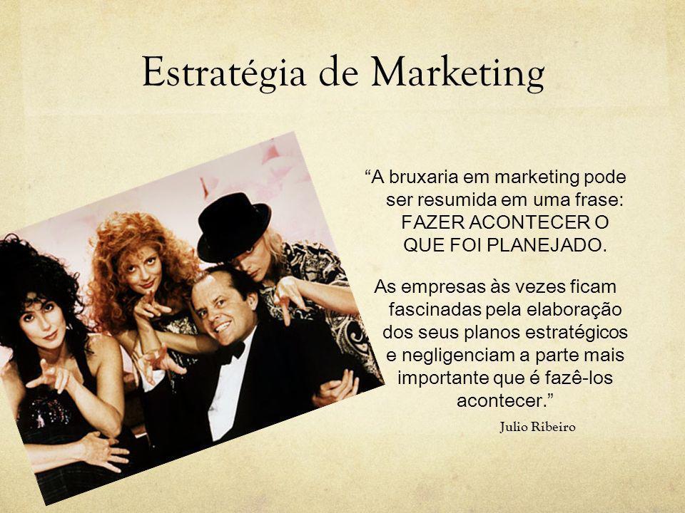 Estratégia de Marketing A bruxaria em marketing pode ser resumida em uma frase: FAZER ACONTECER O QUE FOI PLANEJADO. As empresas às vezes ficam fascin