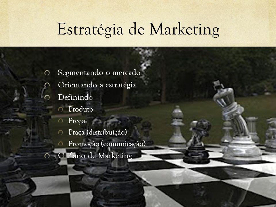 Estratégia de Marketing Segmentando o mercado Orientando a estratégia Definindo Produto Preço Praça (distribuição) Promoção (comunicação) O Plano de M