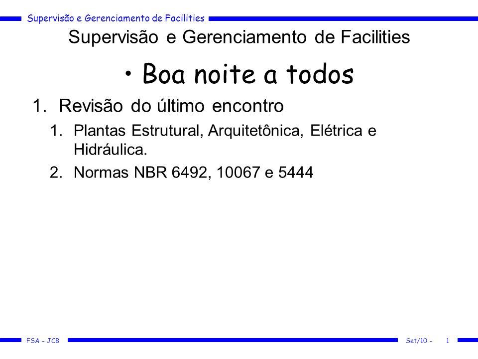 Supervisão e Gerenciamento de Facilities FSA – JCB Set/10 -1 Boa noite a todos 1.Revisão do último encontro 1.Plantas Estrutural, Arquitetônica, Elétr