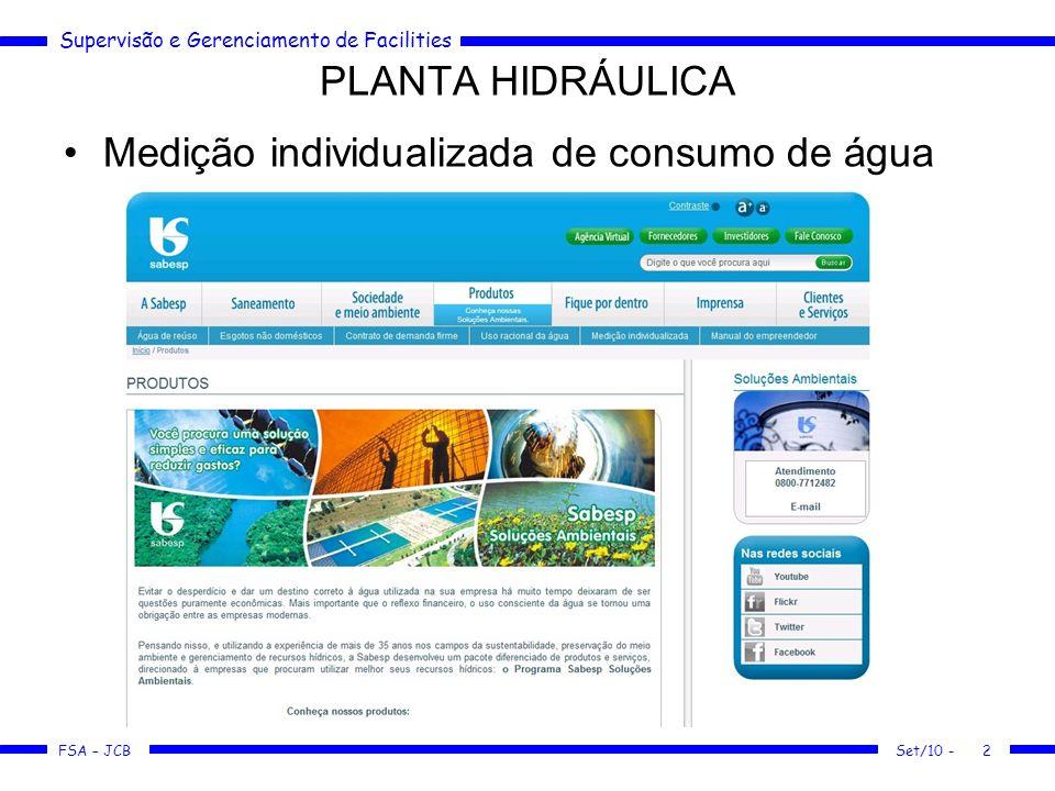 FSA – JCB Medição individualizada de consumo de água PLANTA HIDRÁULICA Set/10 -2