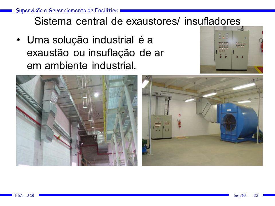 Supervisão e Gerenciamento de Facilities FSA – JCB Sistema central de exaustores/ insufladores Uma solução industrial é a exaustão ou insuflação de ar