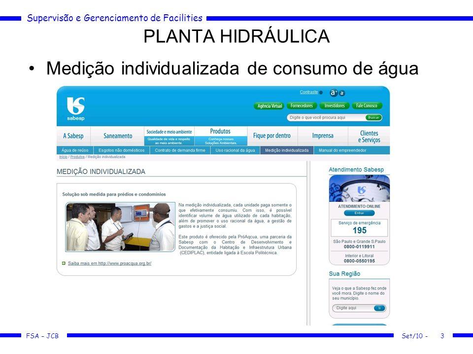 Supervisão e Gerenciamento de Facilities FSA – JCB Medição individualizada de consumo de água PLANTA HIDRÁULICA Set/10 -3