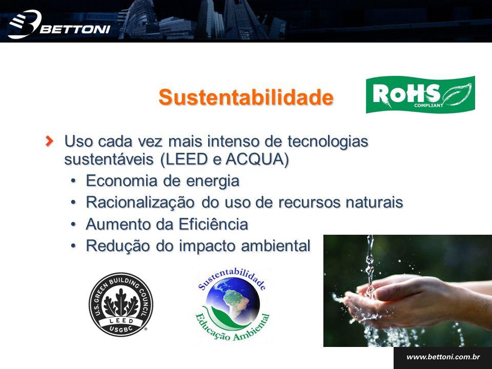 Sustentabilidade Uso cada vez mais intenso de tecnologias sustentáveis (LEED e ACQUA) Economia de energiaEconomia de energia Racionalização do uso de