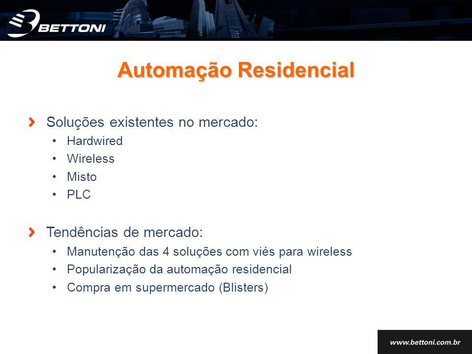 Automação Residencial Soluções existentes no mercado: Hardwired Wireless Misto PLC Tendências de mercado: Manutenção das 4 soluções com viés para wire