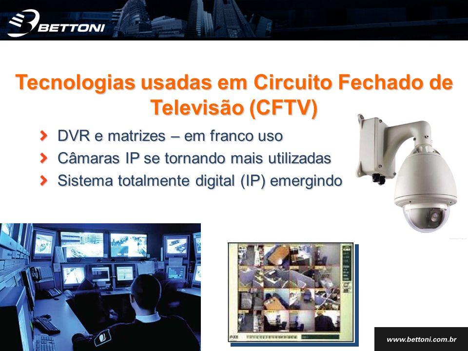 DVR e matrizes – em franco uso Câmaras IP se tornando mais utilizadas Sistema totalmente digital (IP) emergindo Tecnologias usadas em Circuito Fechado