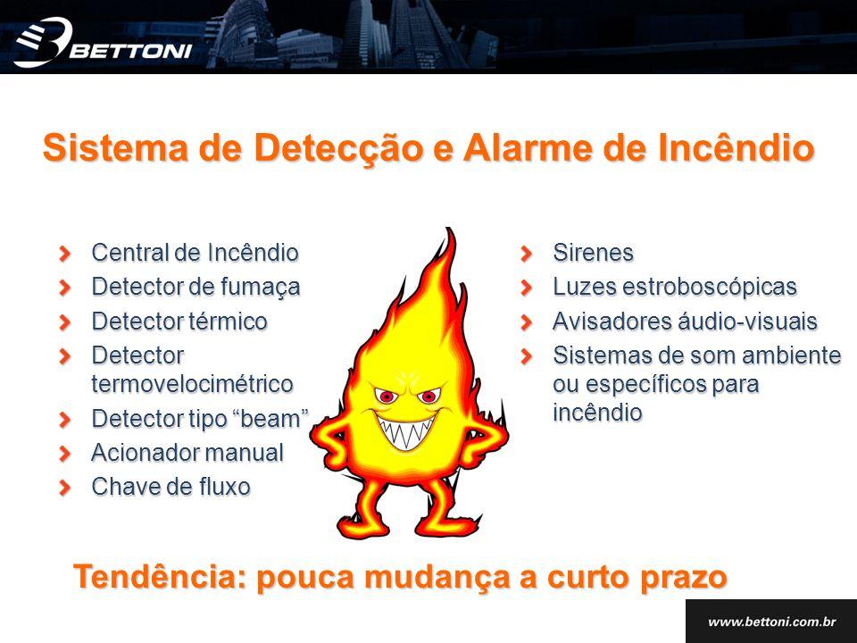 Central de Incêndio Detector de fumaça Detector térmico Detector termovelocimétrico Detector tipo beam Acionador manual Chave de fluxo Sirenes Luzes e
