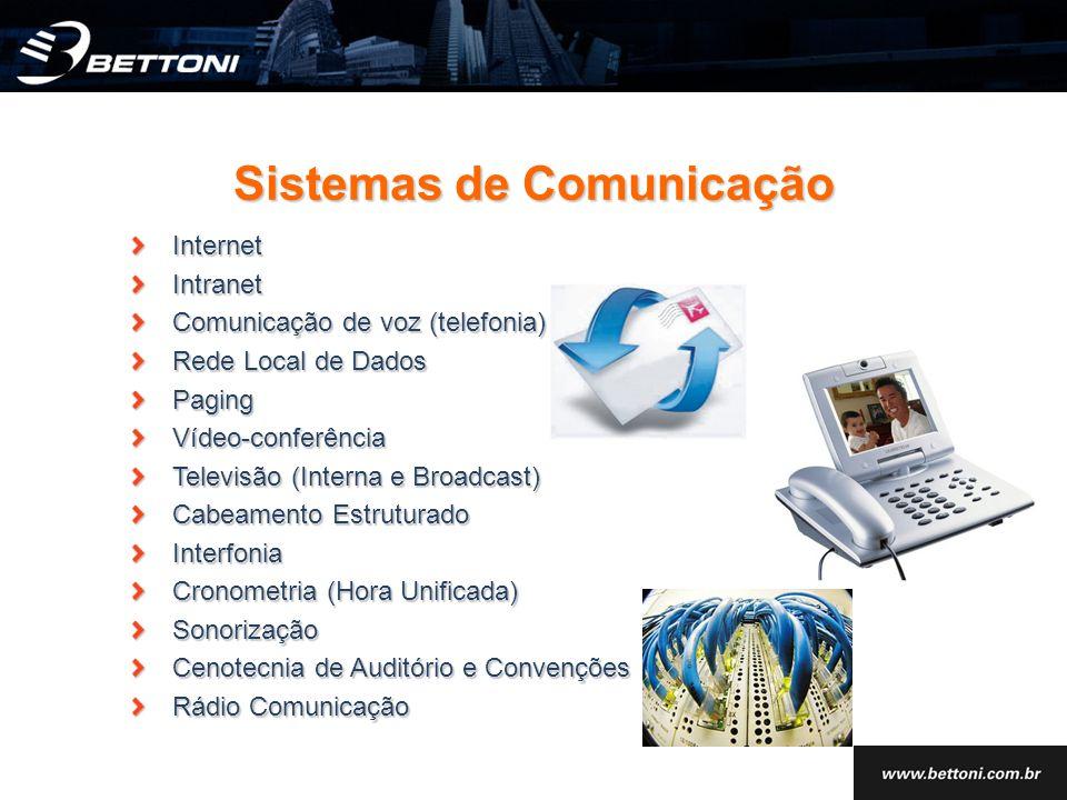 InternetIntranet Comunicação de voz (telefonia) Rede Local de Dados PagingVídeo-conferência Televisão (Interna e Broadcast) Cabeamento Estruturado Int