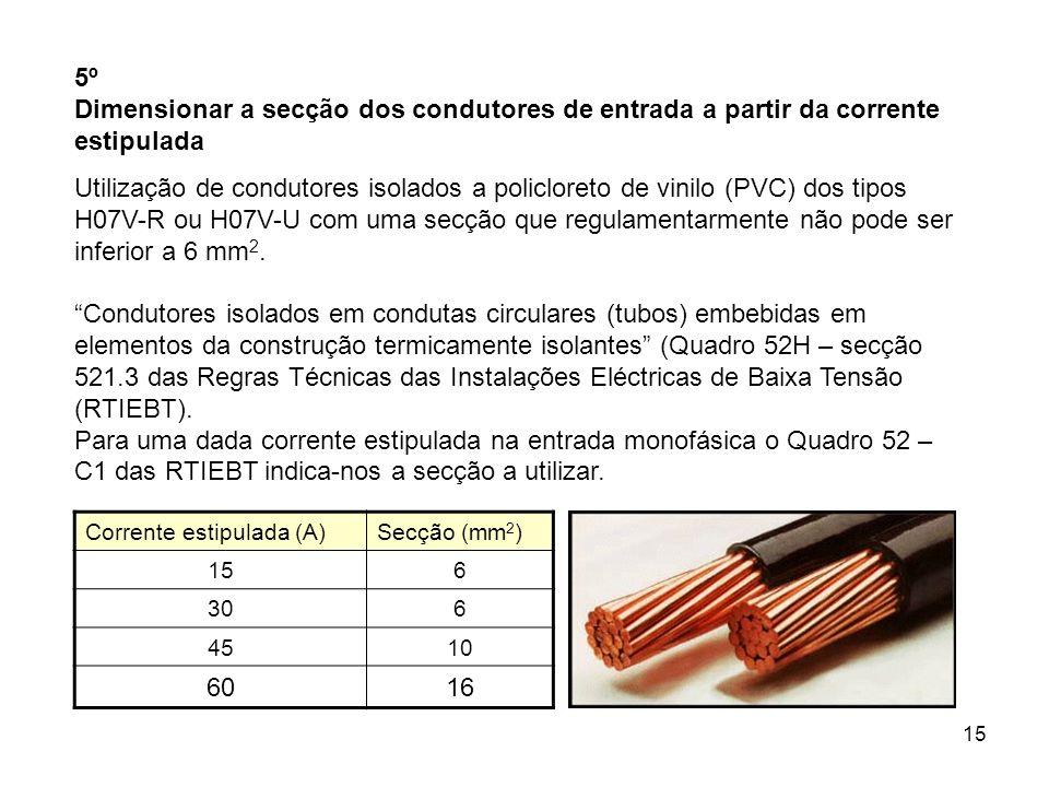 15 5º Dimensionar a secção dos condutores de entrada a partir da corrente estipulada Utilização de condutores isolados a policloreto de vinilo (PVC) dos tipos H07V-R ou H07V-U com uma secção que regulamentarmente não pode ser inferior a 6 mm 2.