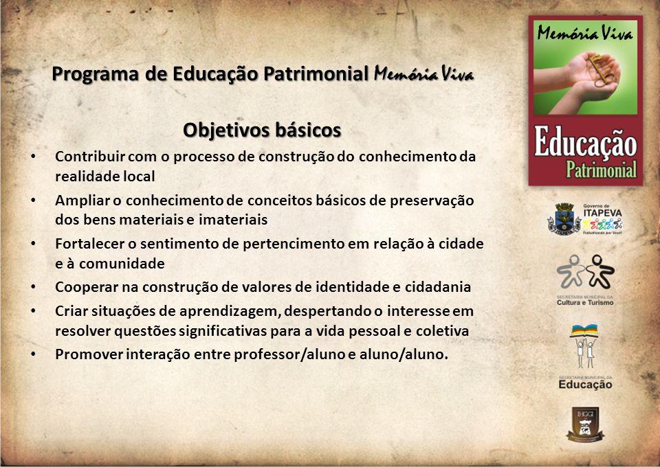 Programa de Educação Patrimonial Memória Viva Objetivos básicos Contribuir com o processo de construção do conhecimento da realidade local Ampliar o c