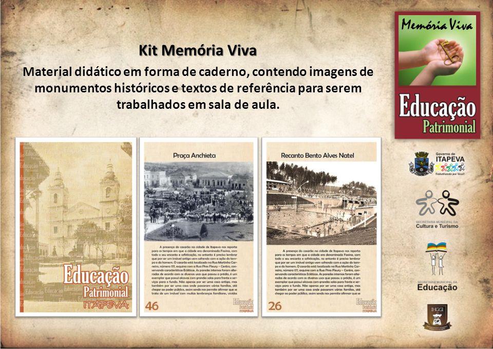 Kit Memória Viva Material didático em forma de caderno, contendo imagens de monumentos históricos e textos de referência para serem trabalhados em sal