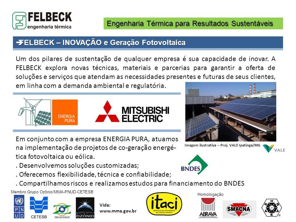 Engenharia Térmica para Resultados Sustentáveis Membro Grupo Ozônio/MMA-PNUD-CETESB Vide: www.mma.gov.br Homologação Um dos pilares de sustentação de