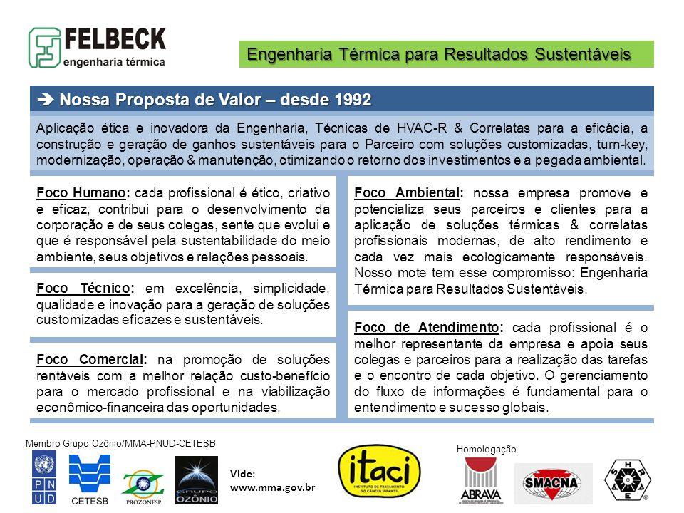 Engenharia Térmica para Resultados Sustentáveis Membro Grupo Ozônio/MMA-PNUD-CETESB Vide: www.mma.gov.br Homologação INOVAÇÃO Ger.