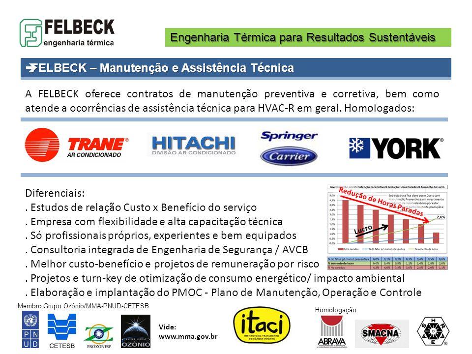Engenharia Térmica para Resultados Sustentáveis Membro Grupo Ozônio/MMA-PNUD-CETESB Vide: www.mma.gov.br Homologação FELBECK – Manutenção e Assistênci