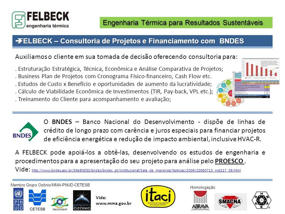 Engenharia Térmica para Resultados Sustentáveis Membro Grupo Ozônio/MMA-PNUD-CETESB Vide: www.mma.gov.br Homologação FELBECK – Consultoria de Projetos