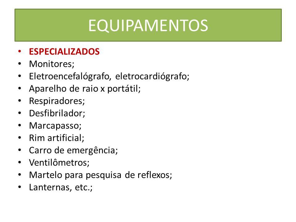 EQUIPAMENTOS ESPECIALIZADOS Monitores; Eletroencefalógrafo, eletrocardiógrafo; Aparelho de raio x portátil; Respiradores; Desfibrilador; Marcapasso; R