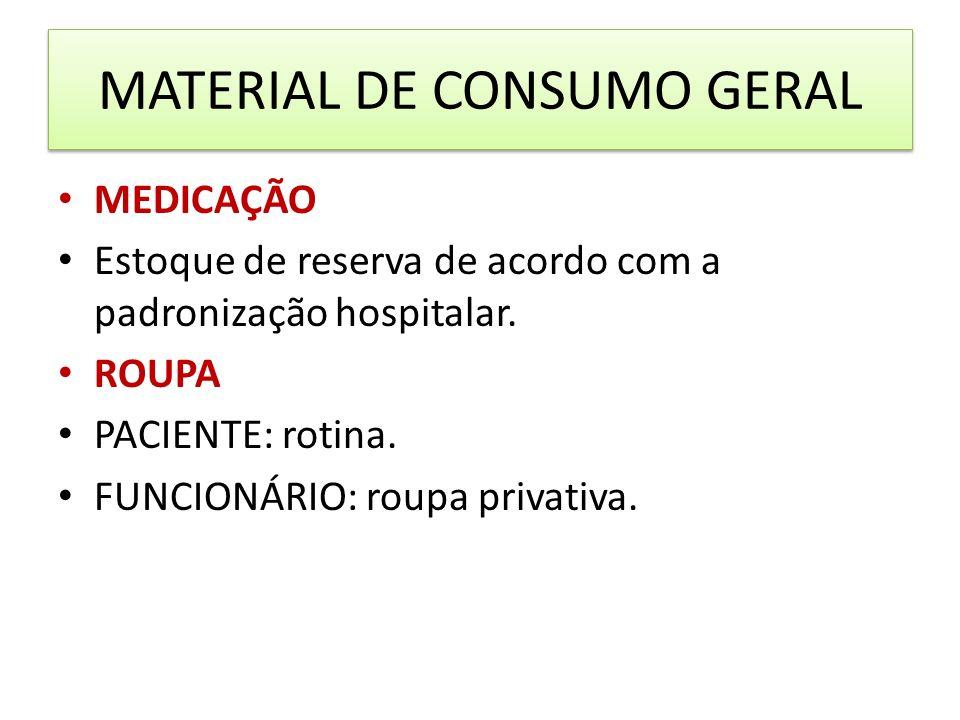 MATERIAL DE CONSUMO GERAL MEDICAÇÃO Estoque de reserva de acordo com a padronização hospitalar. ROUPA PACIENTE: rotina. FUNCIONÁRIO: roupa privativa.