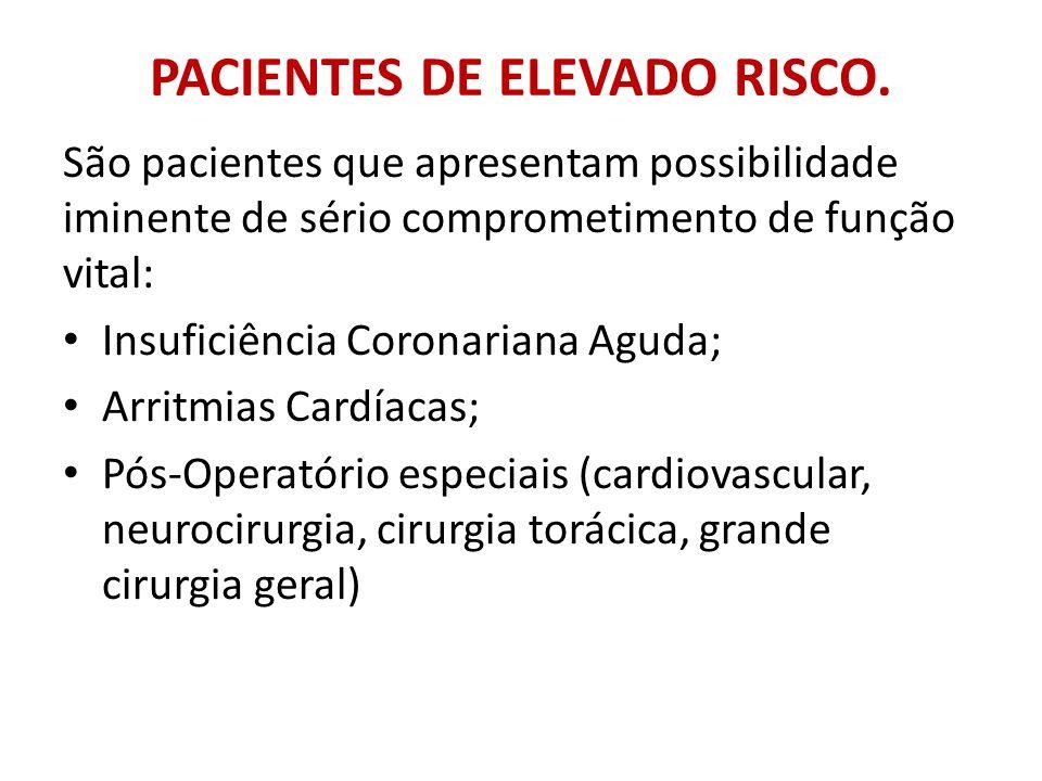PACIENTES DE ELEVADO RISCO. São pacientes que apresentam possibilidade iminente de sério comprometimento de função vital: Insuficiência Coronariana Ag