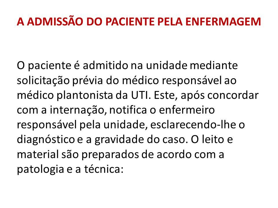 A ADMISSÃO DO PACIENTE PELA ENFERMAGEM O paciente é admitido na unidade mediante solicitação prévia do médico responsável ao médico plantonista da UTI