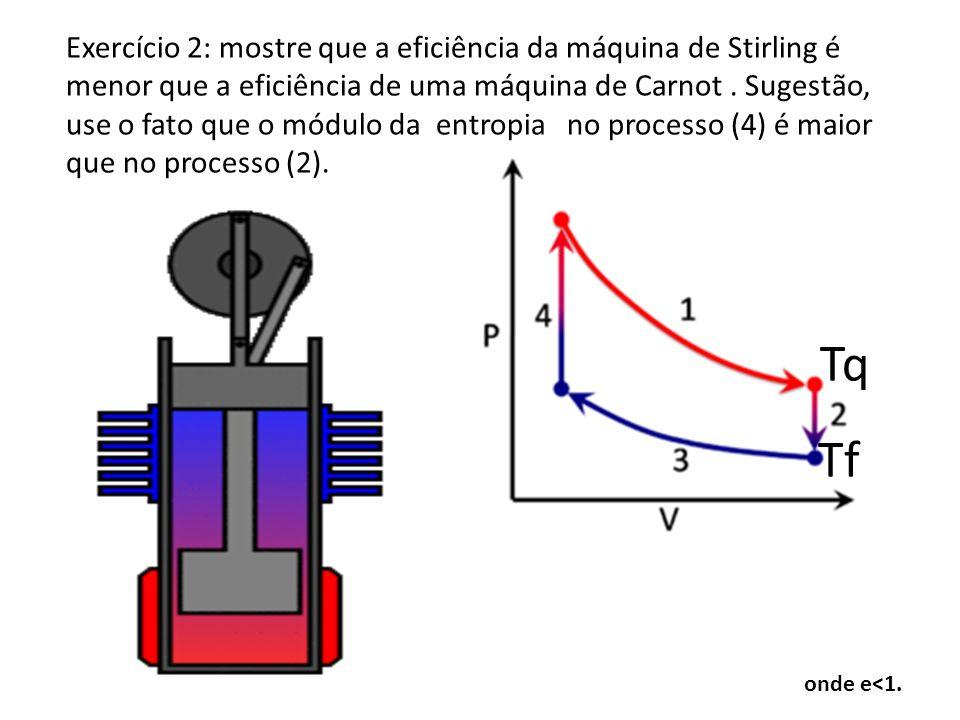 onde e<1. Tq Tf Exercício 2: mostre que a eficiência da máquina de Stirling é menor que a eficiência de uma máquina de Carnot. Sugestão, use o fato qu