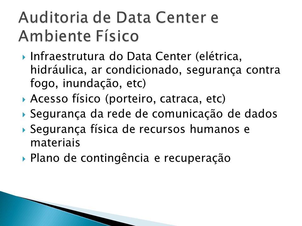 Infraestrutura do Data Center (elétrica, hidráulica, ar condicionado, segurança contra fogo, inundação, etc) Acesso físico (porteiro, catraca, etc) Segurança da rede de comunicação de dados Segurança física de recursos humanos e materiais Plano de contingência e recuperação