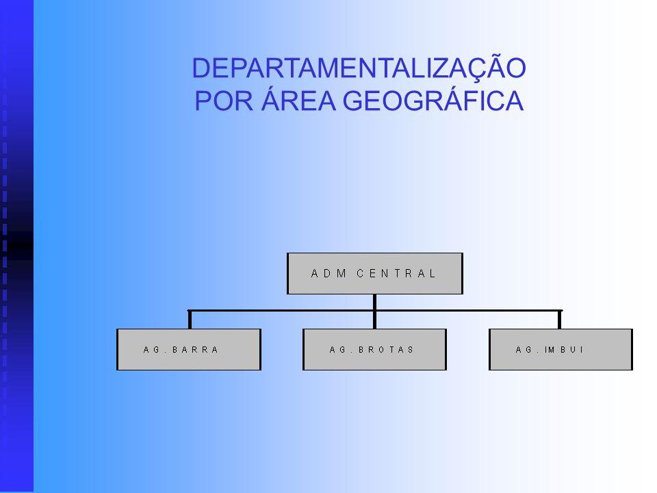 DEPARTAMENTALIZAÇÃO POR ÁREA GEOGRÁFICA Neste tipo de departamentalização, os grupos são estabelecidos por áreas geográficas. Isto ocorre principalmen