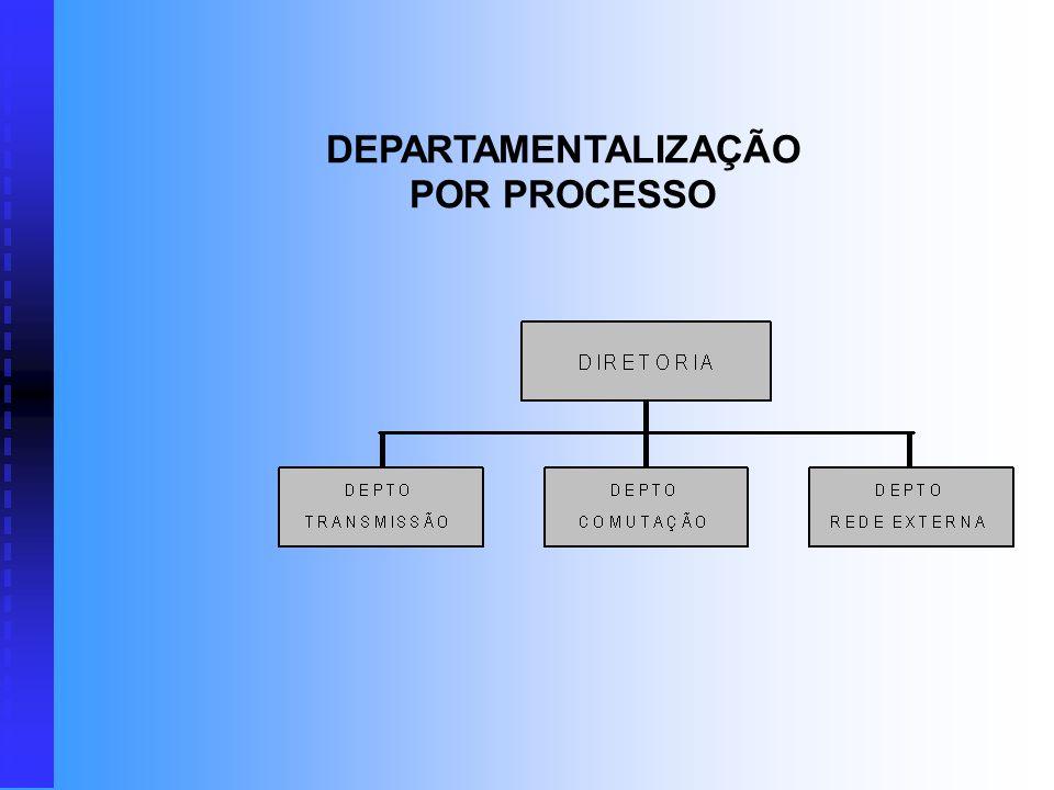 DEPARTAMENTALIZAÇÃO POR PROCESSO Neste caso, os agrupamentos de atividades são estabelecidos por linhas de processo. É freqüentemente utilizado em ope