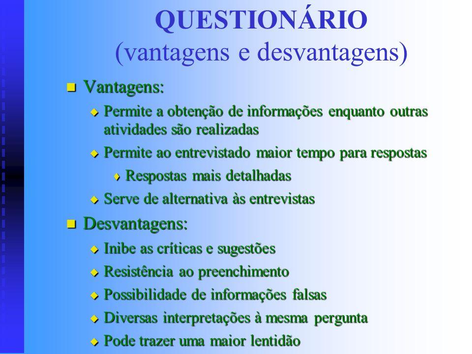 Questionário (indicações) Maior abrangência (maior número de indivíduos) Maior abrangência (maior número de indivíduos) Condições para aplicação: Cond