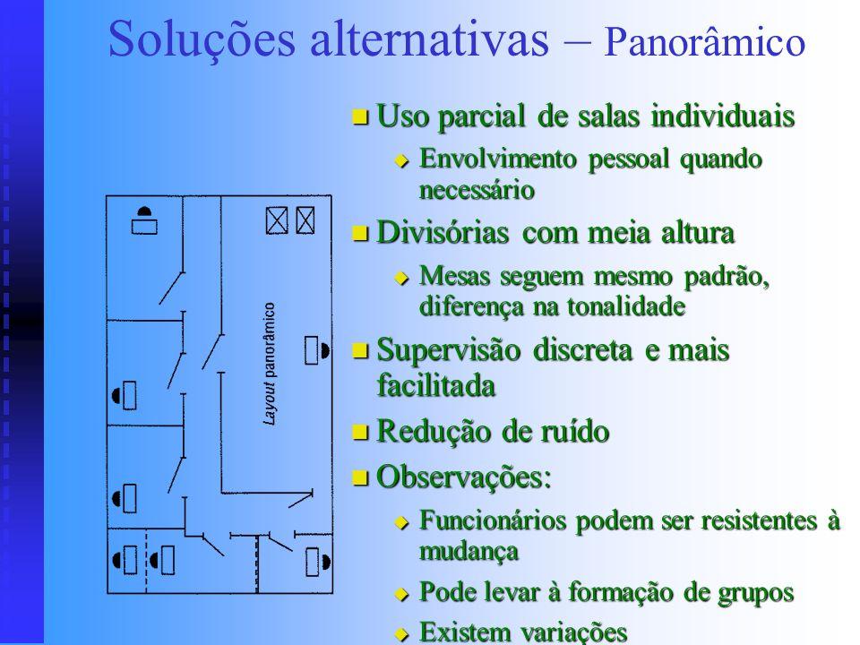 Soluções alternativas Grandes áreas, grande concentração humana Grandes áreas, grande concentração humana Geralmente ocupa todo um andar Geralmente oc