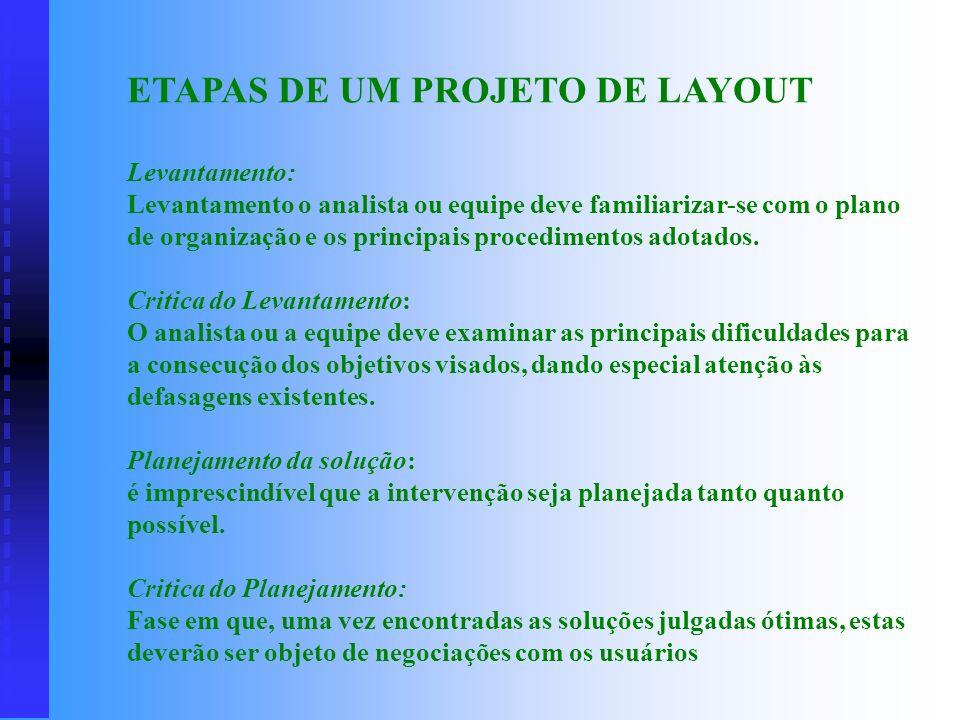 a) otimizar as condições de trabalho do pessoal nas diversas unidades organizacionais; b) racionalizar os fluxos de fabricação ou de tramitação de pro