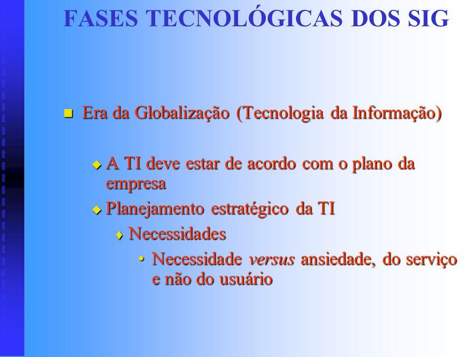 FASES TECNOLÓGICAS DOS SIG Era do Ambiente Virtual ( Informações Estratégicas ) Era do Ambiente Virtual ( Informações Estratégicas ) Utilização das in