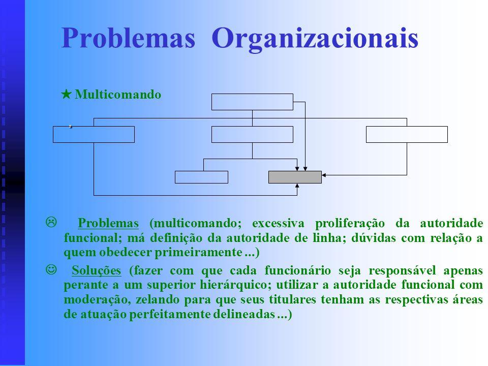 Problemas (impossibilidade de dar um atendimento rápido e solução correta a todos os subordinados; dificuldade da chefia em dominar todos os assuntos