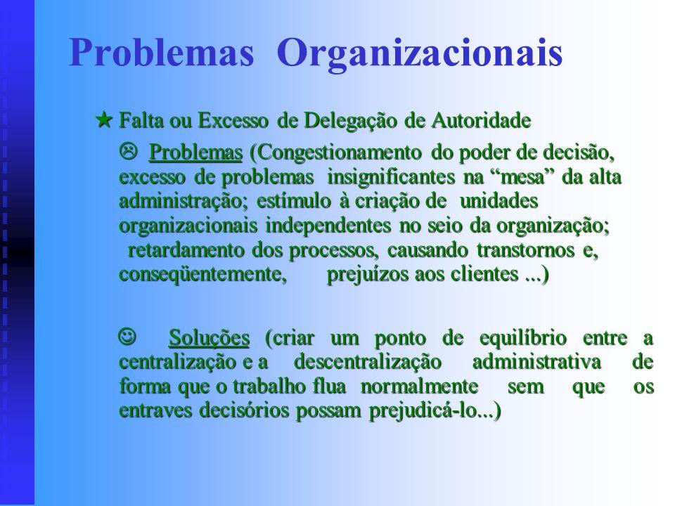 . Problemas (multicomando; excessiva proliferação da autoridade funcional; má definição da autoridade de linha; dúvidas com relação a quem obedecer pr