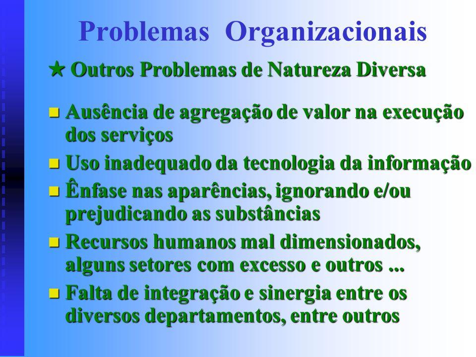 Outros Problemas de Natureza Diversa Outros Problemas de Natureza Diversa Estrutura organizacional obsoleta e antiquada Estrutura organizacional obsol