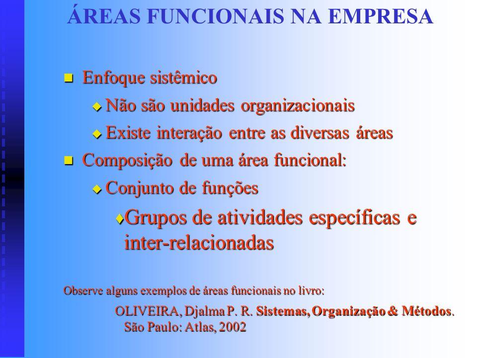 ÁREAS FUNCIONAIS NA EMPRESA Dois tipos: Áreas fim Áreas fim Atividades e funções ligadas ao ciclo de produção ou colocação do produto no mercado (obje