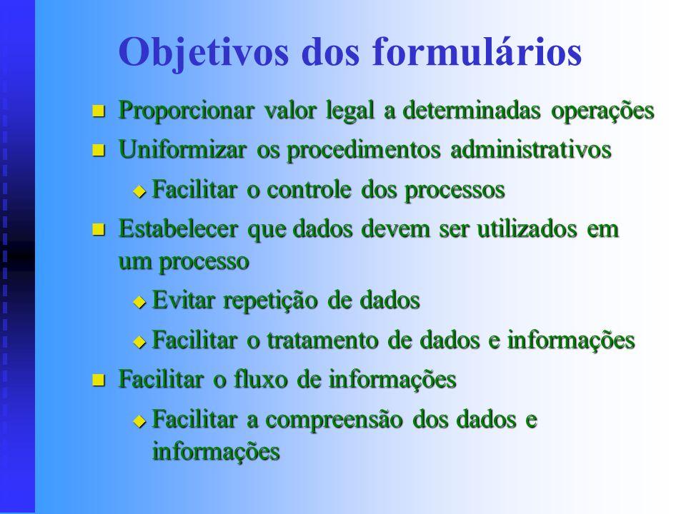 Importância dos formulários Exigências legais e governamentais Exigências legais e governamentais Importância dos dados e informações Importância dos