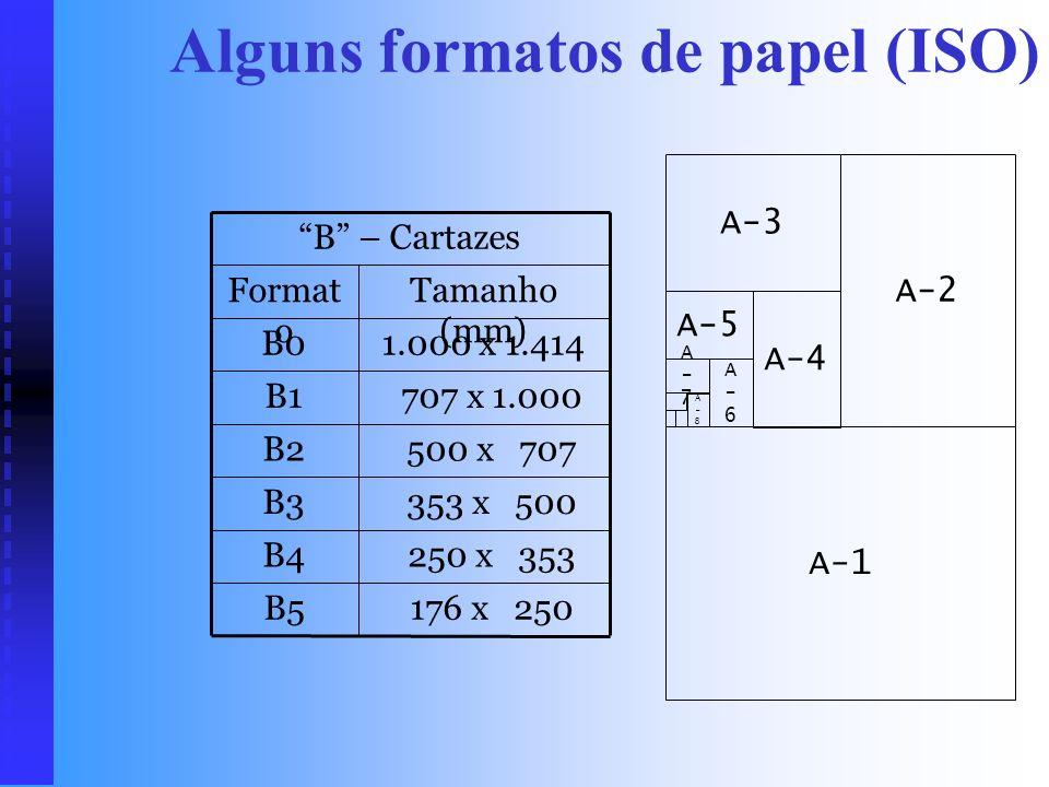 Alguns formatos de papel (ISO) 52 x 74A8 74 x 105A7 105 x 148A6 A – Folhas 148 x 210A5 210 x 297A4 297 x 420A3 420 x 594A2 594 x 841A1 841 x 1.189A0 T