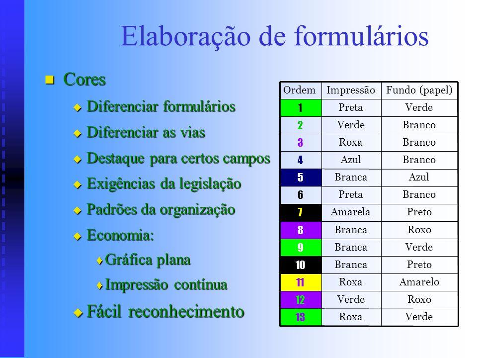 Elaboração de formulários Tipo e qualidade do papel Tipo e qualidade do papel Duração do formulário Duração do formulário Importância Importância Quan