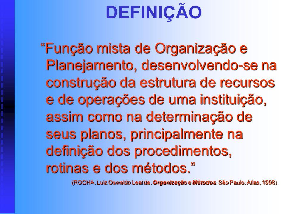 DEFINIÇÃO Função mista de Organização e Planejamento, desenvolvendo-se na construção da estrutura de recursos e de operações de uma instituição, assim como na determinação de seus planos, principalmente na definição dos procedimentos, rotinas e dos métodos.