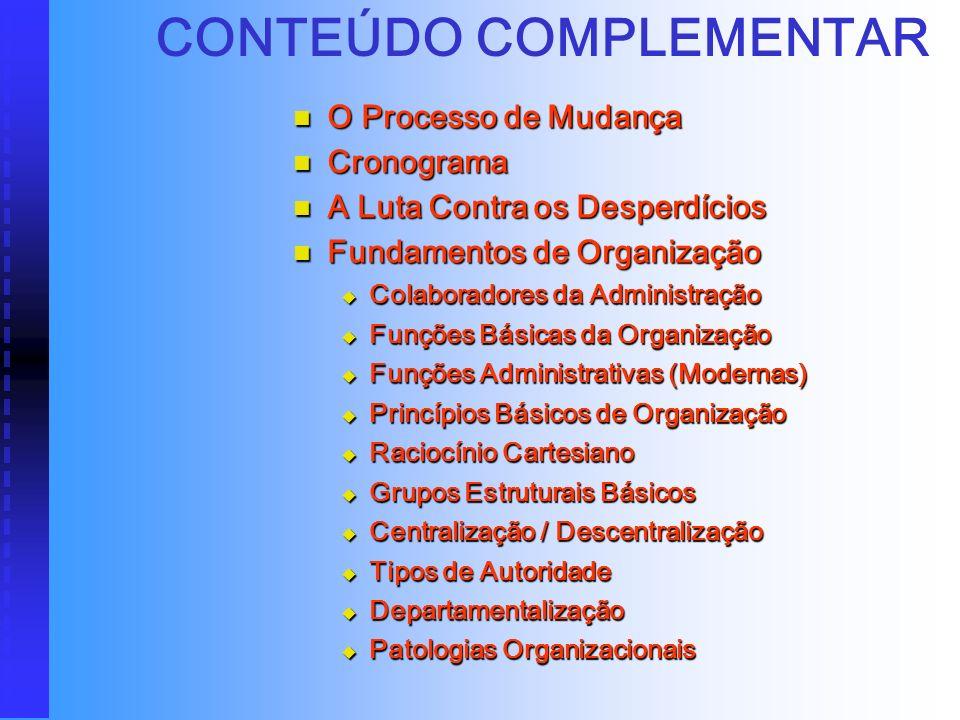 CONTEÚDO BÁSICO Introdução ao Estudo de Organização, Sistemas e Métodos Introdução ao Estudo de Organização, Sistemas e Métodos Denominações usuais de