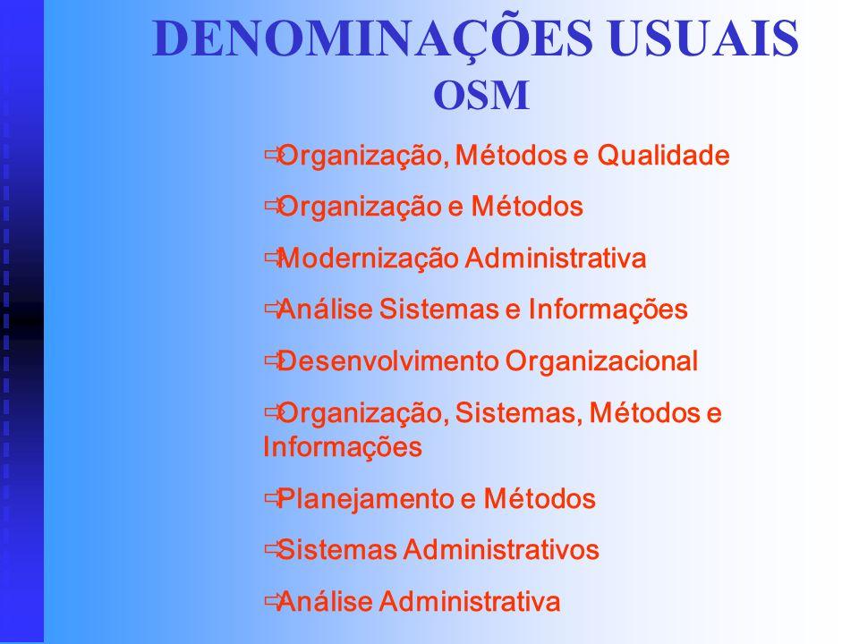CONCEITOS O novo OSM é o desenvolvimento organizacional, que envolve a atuação do profissional como consultor em planos estratégicos, projetos de muda